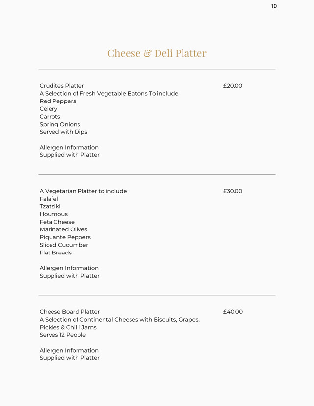 Cheese and Deli Menu