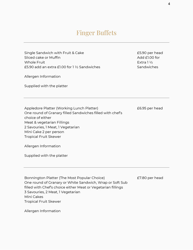 Finger Buffets Menu