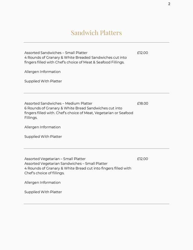 Sandwich Platter Menus