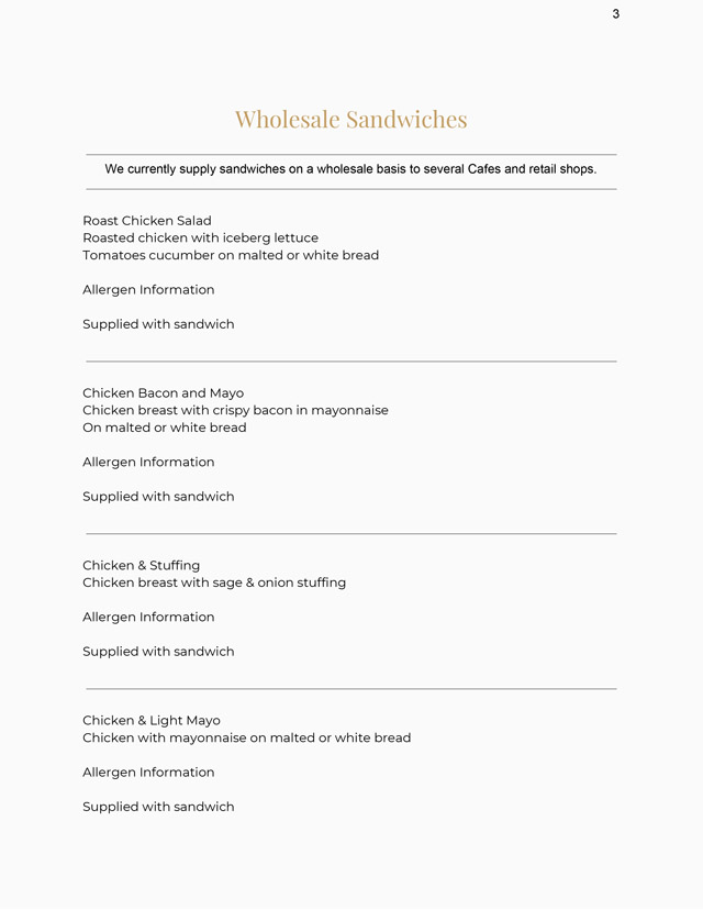Wholesale Sandwiches Menu